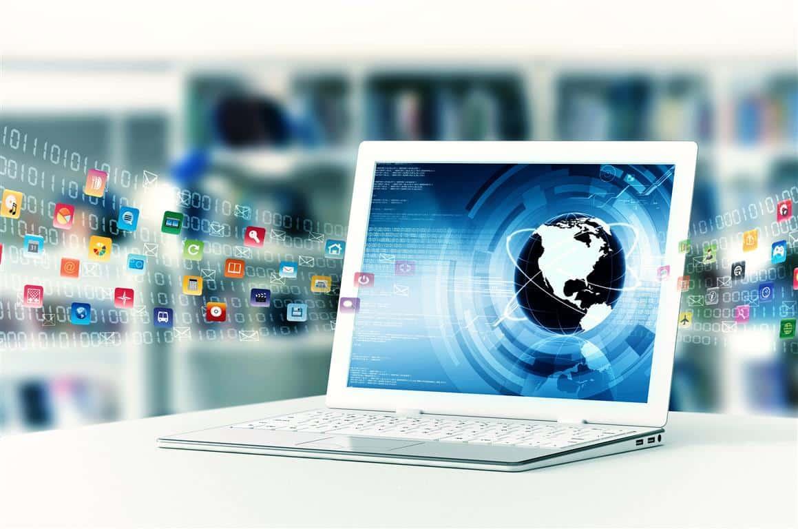 מחשב נייד מסך אייקונים אפליקציות
